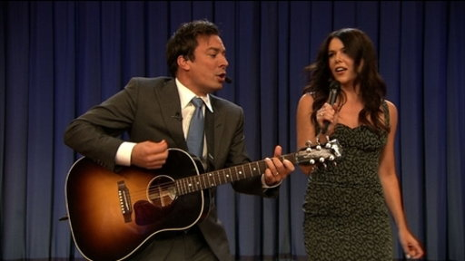 "[Lauren Graham and Jimmy Sing ""Balls in Your Mouth""]"