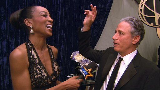 [2011 Emmy Awards Backstage: Jon Stewart Happy for 'The Daily Sho]