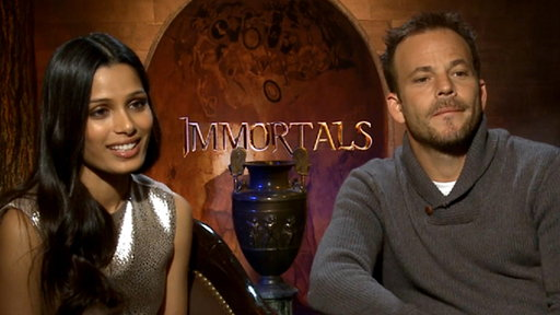 Freida Pinto & Stephen Dorff Talk Stripping Down for 'Immortals' Video