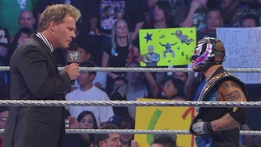 [Chris Jericho addresses Rey Mysterio]