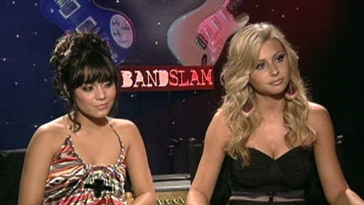 Vanessa Hudgens and Alyson Michalka Talk 'Bandslam' Video
