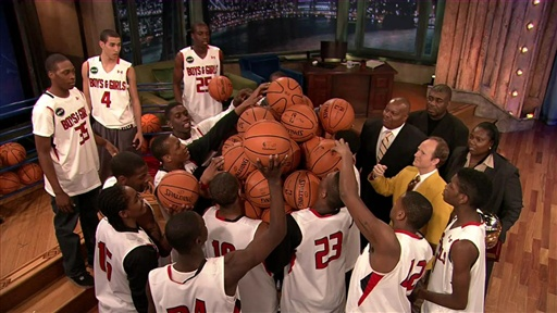 Most Basketballs Held at Once by a Basketball Team Video