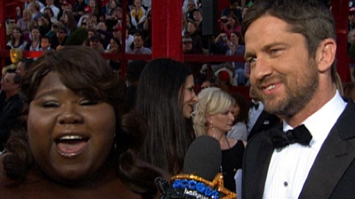 2010 Oscars Red Carpet: Gabourey Sidibe Meets Gerard Butler - &#39;I Video
