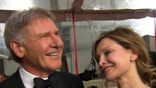 [2012 Golden Globes Red Carpet: Harrison Ford & Calista Flockhart]