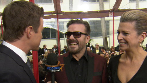 2012 Golden Globes Red Carpet: Ricky Gervais Talks Hosting - 'I' Video