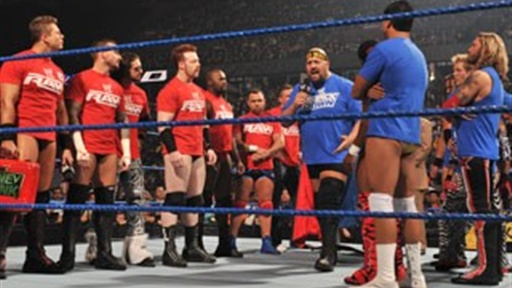 [SmackDown Vs. Raw – Six-Man Tag Match.]