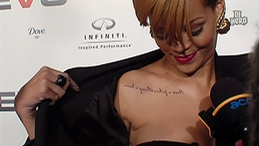 [Rihanna Reveals New Tattoo at VEVO Launch]
