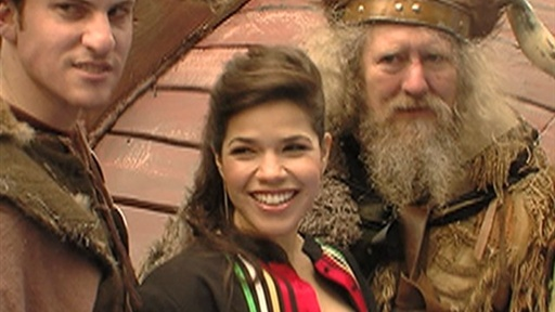 [America Ferrera Docks Her 'Dragon' Viking Ship in Times Square]