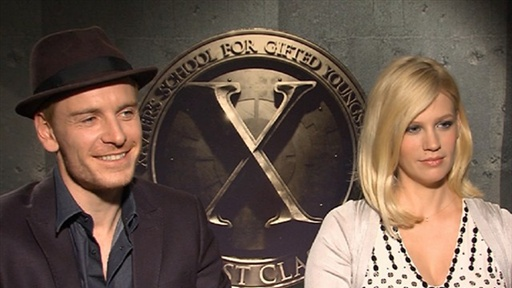 [January Jones & Michael Fassbender Talk 'X-Men: First Class']